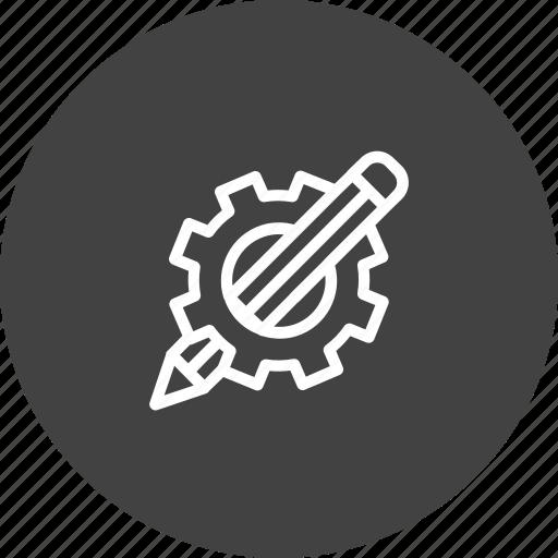design, drawing, gear, geometry, pencil, setting icon