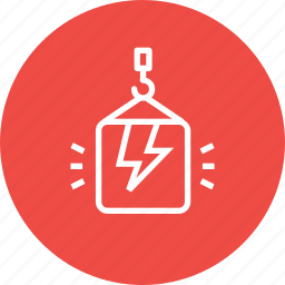 bolt, crain, electricity, lift, package, thunder, weight icon