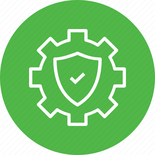 anti, gear, protection, secure, settings, shield, virus icon