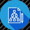 chart, document, flaw, hierarchy, paper, pen, pencil