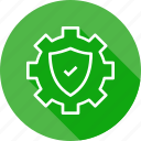 gear, secure, settings, shield icon