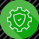 gear, secure, settings, shield icon