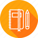 book, education, folder, log, notebook, pen, pencil