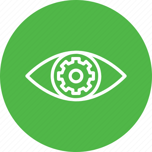 eye, gear, mission, preferences, settings, view, vision icon