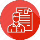 avatar, document, employee, man, portfolio, resume, shortlisted icon