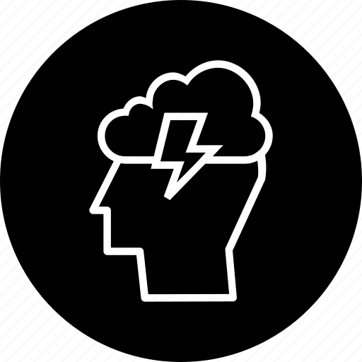 cloud, idea, innovation, invention, lightning, man, person icon