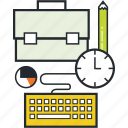 briefcase, development, illustrations, job, management, project management icon