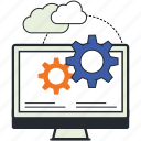 application, computer, design, development, gear, illustrations, services icon