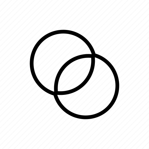 circle, design, exclude, overlap, shapes icon