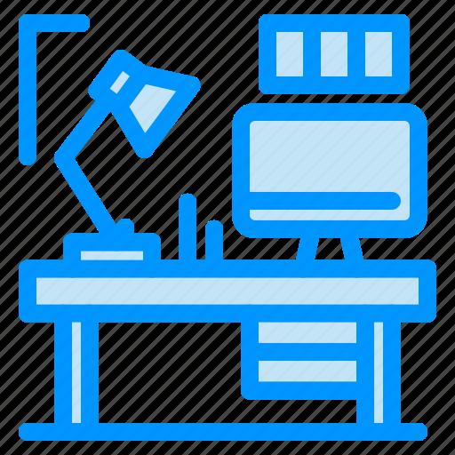 computer, designer, lamp, table icon