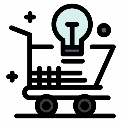 bulb, cart, idea, light, online, shopping icon