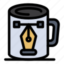 coffee, cup, design, drawing, nodes icon