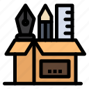 holder, pen, pencil, scale, stationary icon