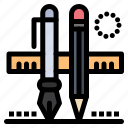 drawing, pen, pencil, scale, stationary icon