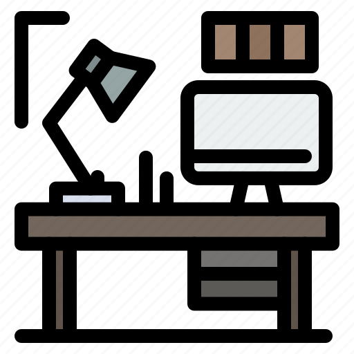 computer, designer, lamp, table icon