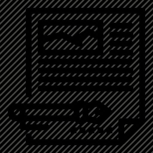 article, document, edit, paper, pen icon