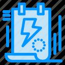 bolt, clipboard, document, energy, file icon