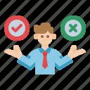 decision, design, false, management, plan, strategy, thinking icon