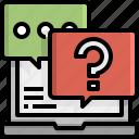 message, question, communications, laptop, conversation