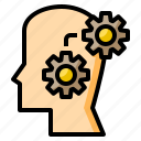 creating, head, gear, thinking, mind