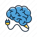brain, brain charge, brain charging, charging brain, mind icon