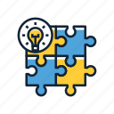 creative, planning, problem solving, puzzle, puzzle pieces, solution icon