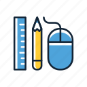 design, designer tools, mouse, pencil, ruler, tools icon