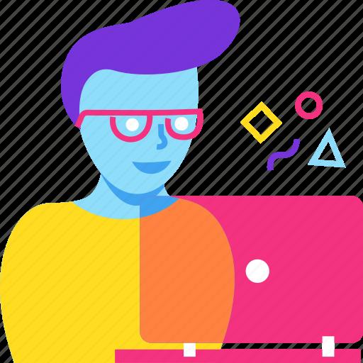 design, designer, graphic, man, web design, work icon