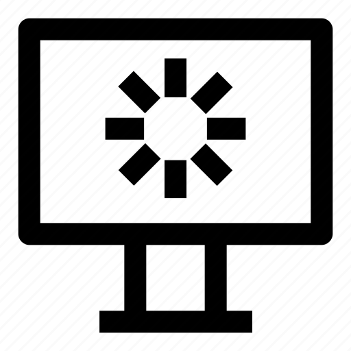 computer, desktop, load, loading, monitor, screen, technology icon
