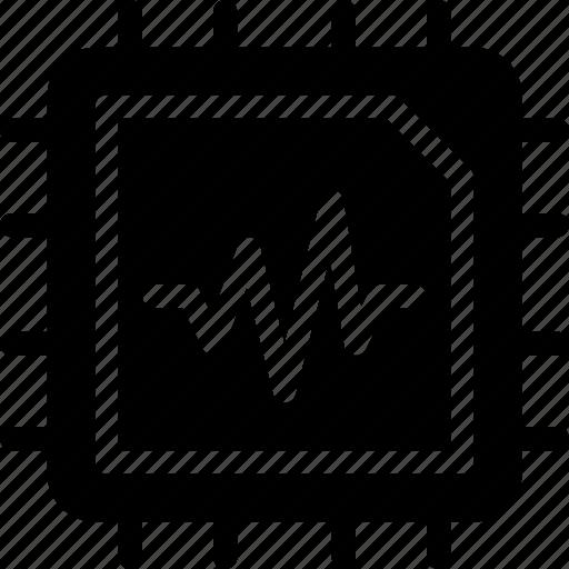 cpu, ecg, heart, machine, processor icon
