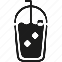 cafe, cold, cube, drink, ice, packaging, takeaway icon