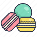 bakery, biscuit, colorful, dessert, macaron icon