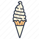cream, dessert, icecream, milk, soft, vanilla icon