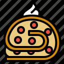 cake, dessert, food, jam, roll, sweet