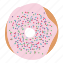 bread, dessert, donut, doughnut, pink, sprinkles, sweet icon
