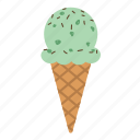 cone, dessert, green, icecream, matcha, scoop, sprinkles icon