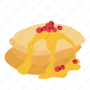 berry, breakfast, dessert, food, honey, pancake icon