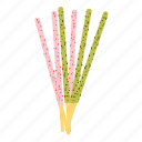 bread, dessert, matcha, pocky, stick, strawberry, sweet icon