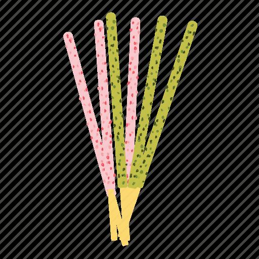 bread, dessert, matcha, pocky, stick, strawberry, sweet icon
