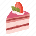 cake, dessert, food, pink, slice, strawberry, sweet icon