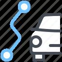 car, route, view, navigation, path, map, segment icon