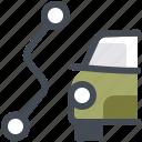 map, navigation, path, view, segment, destination, car icon