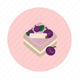 blueberry, cake, cream, dessert, food, sdesign, sweet icon