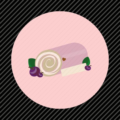 blueberry, cake, dessert, food, roll, sdesign, sweet icon
