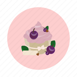 blueberry, cake, cupcake, dessert, food, sdesign, sweet icon