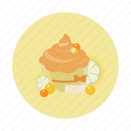 cake, cupcake, dessert, food, lemon, sdesign, sweet icon