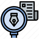 author, check, detecting, news, research icon