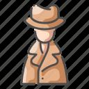 crime, detective, hat, investigation, investigator, mystery, police icon