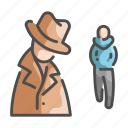 crime, detective, hat, investigator, mystery, police, stalking icon