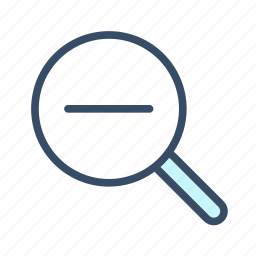 developer, magnifier, magnifying glass, out, zoom out icon